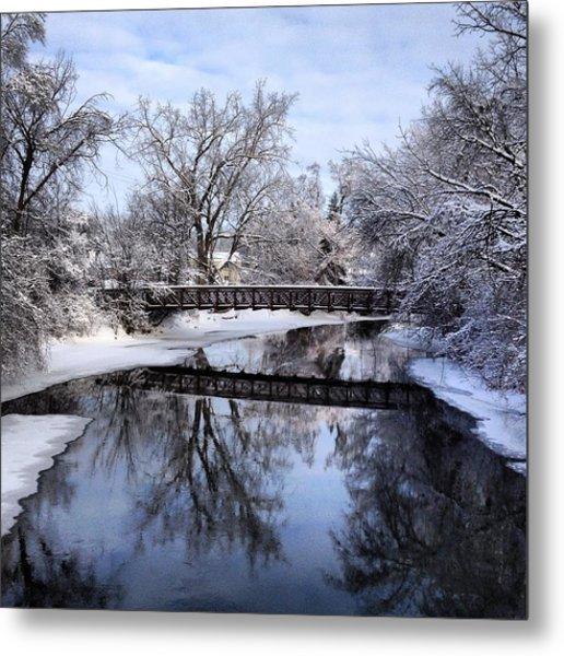 Pine River Foot Bridge From Superior In Winter Metal Print