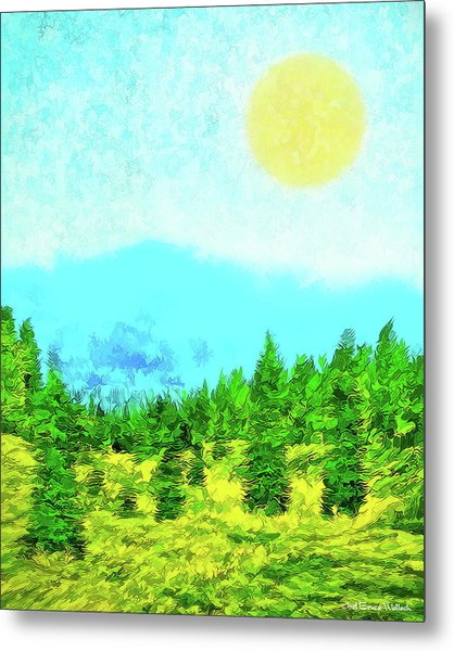 Pine Tree Mountain Blue - Shasta California Metal Print