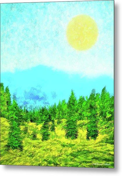 Pine Tree Mountain Blue - Shasta California Metal Print
