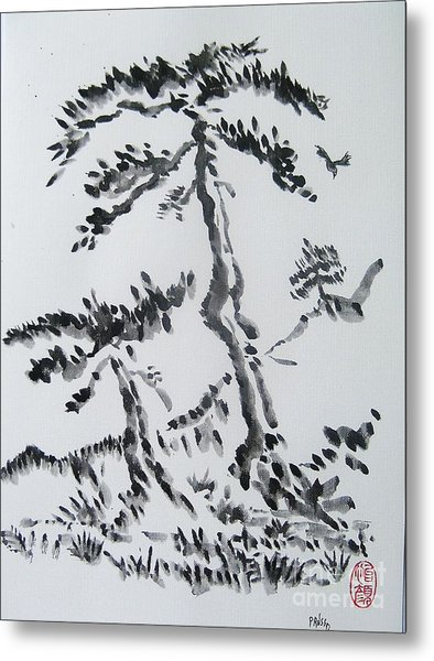 Pine Trees On Tokaido Road Metal Print