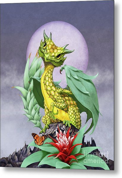 Pineapple Dragon Metal Print