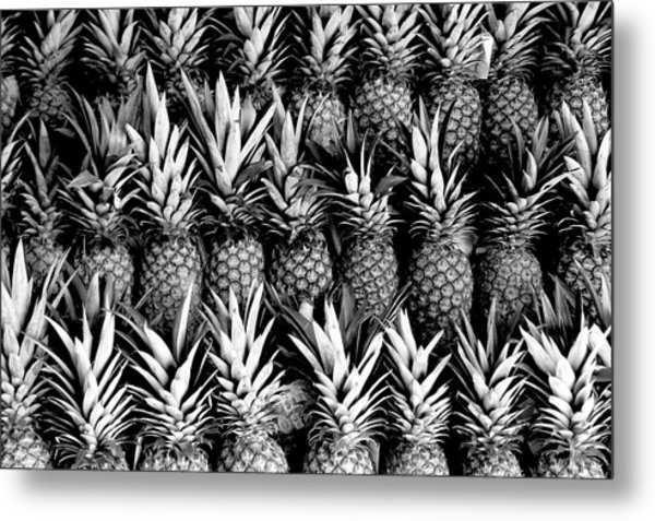 Pineapples In B/w Metal Print