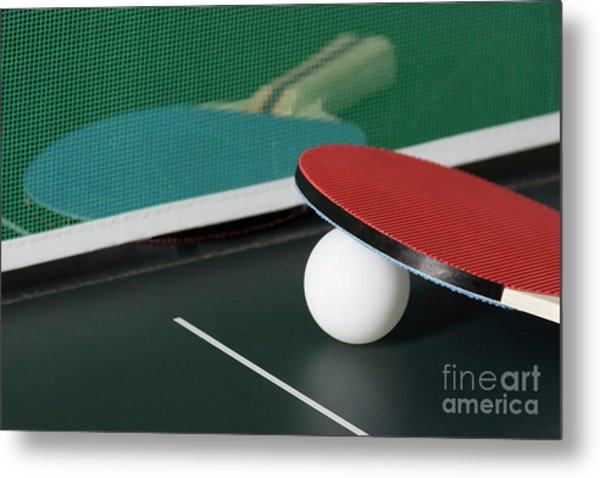 Ping Pong Paddles On Table With Net Metal Print
