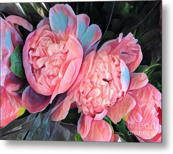 Pink And A Little Blue - Colors From My Garden Metal Print