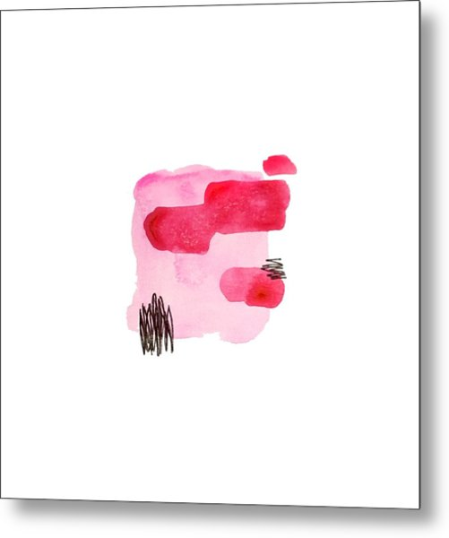 Pink And Black Abstract Metal Print