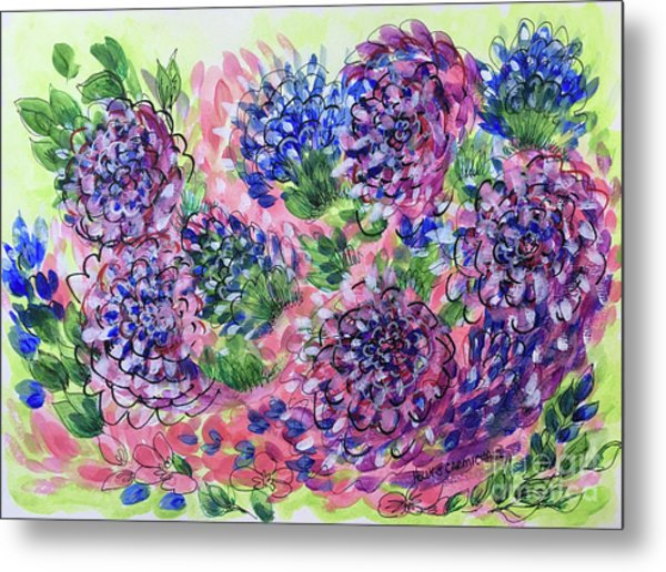 Pink And Blue Flower Flurry Metal Print