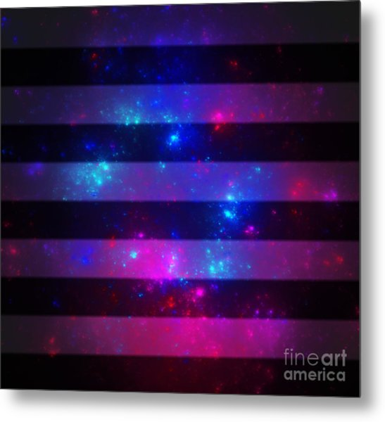 Pink And Blue Striped Galaxy Metal Print