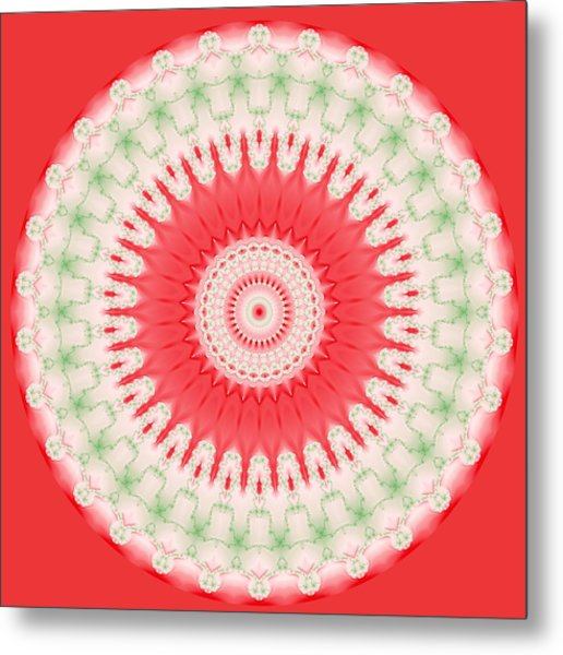Pink And Green Mandala Fractal 001 Metal Print