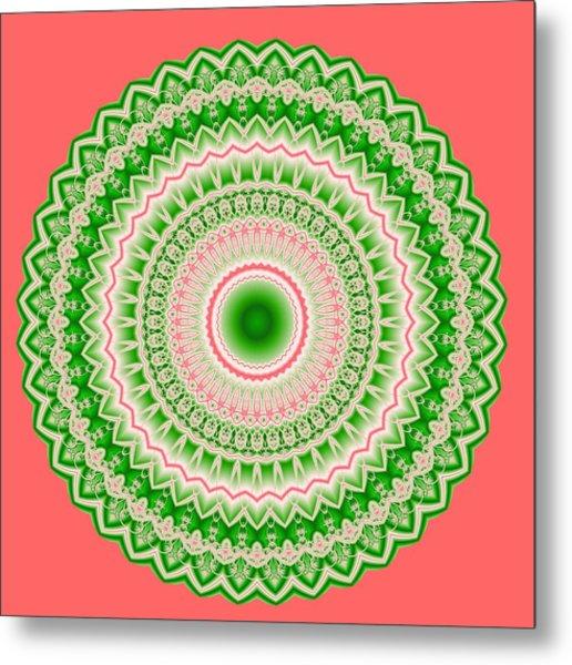 Pink And Green Mandala Fractal 002 Metal Print