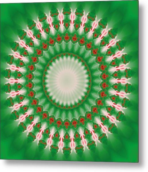 Pink And Green Mandala Fractal 005 Metal Print