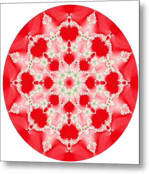 Pink And Green Watercolor Snowflake Fractal Metal Print