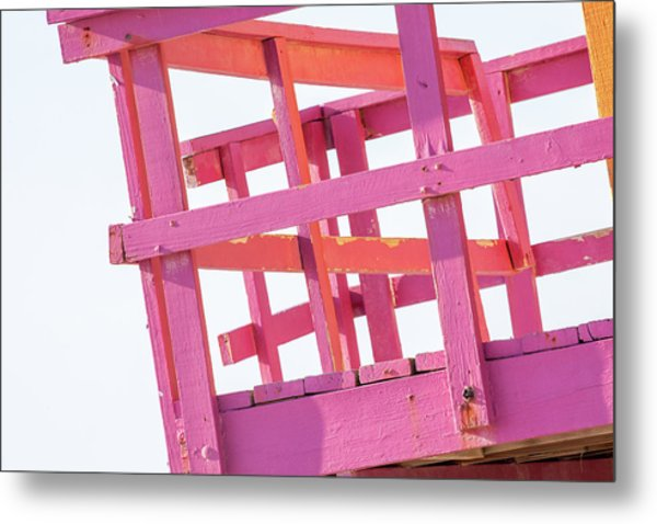 Pink And Orange Lifeguard Tower Metal Print