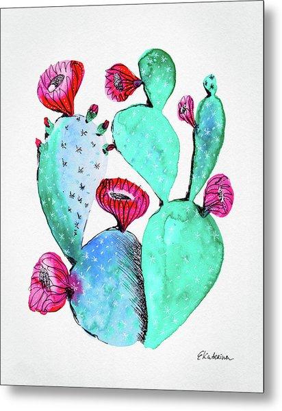 Pink And Teal Cactus Metal Print