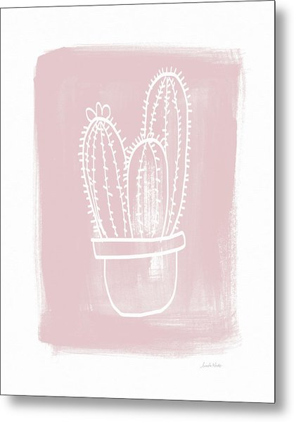 Pink And White Cactus- Art By Linda Woods Metal Print