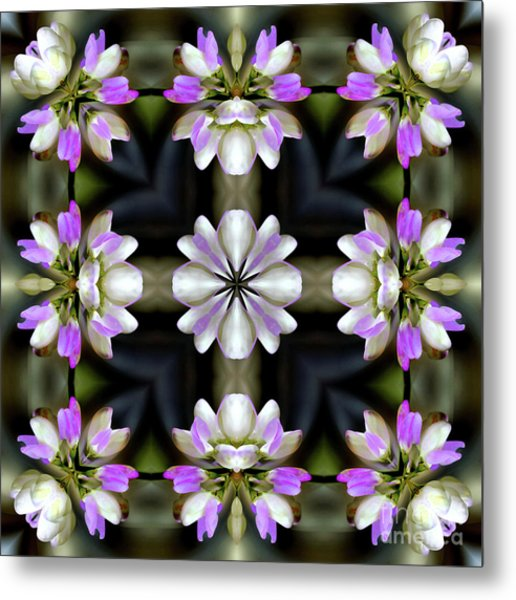 Pink And White Flowers Abstract Metal Print
