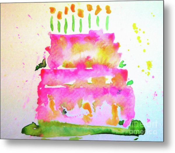 Metal Print featuring the painting Pink Birthday Cake by Claire Bull