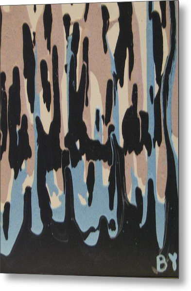 Pink Blue And Brown Drips Metal Print