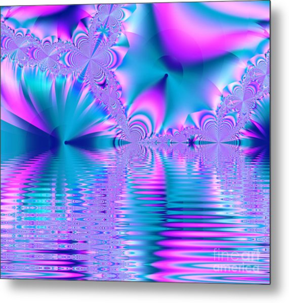 Pink, Blue And Turquoise Fractal Lake Metal Print