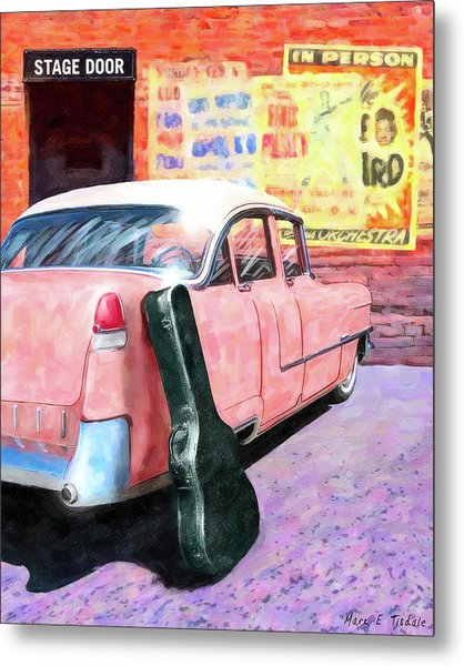 Metal Print featuring the digital art Pink Cadillac At The Stage Door by Mark Tisdale