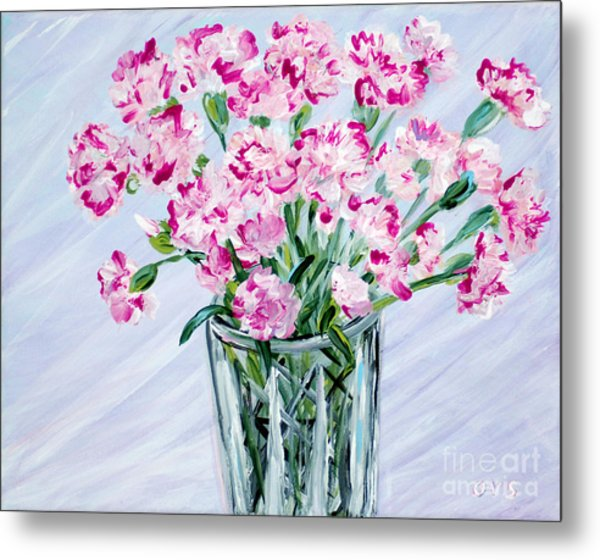 Pink Carnations In A Vase. For Sale Metal Print