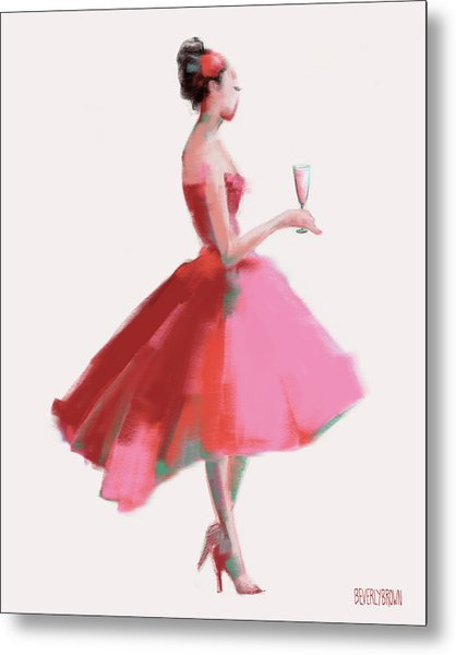 Pink Champagne Fashion Art Metal Print by Beverly Brown