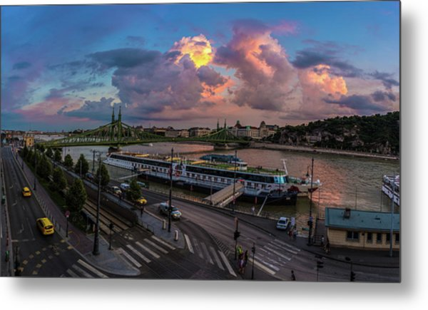 Pink Clouds Above The Danube, Budapest Metal Print