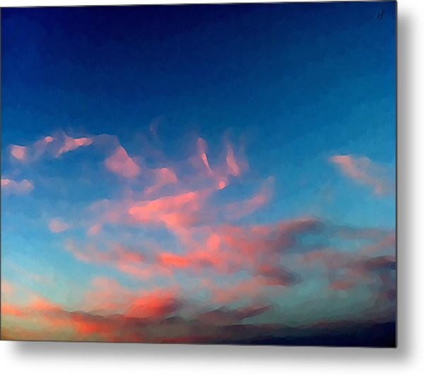 Pink Clouds Abstract Metal Print