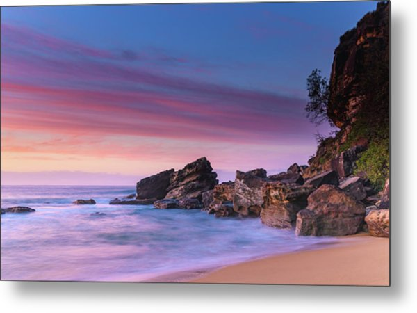 Pink Clouds And Rocky Headland Seascape Metal Print