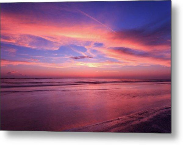 Pink Sky And Ocean Metal Print