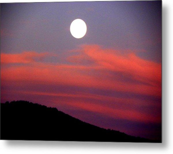 Pink Clouds With Moon Metal Print