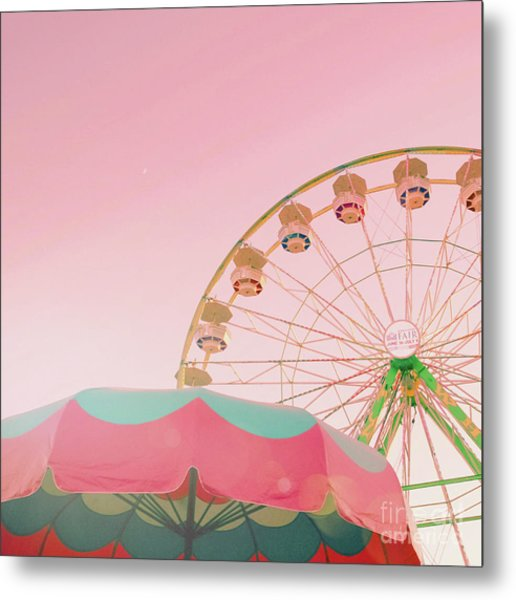 Metal Print featuring the photograph Pink Ferris Wheel by Cindy Garber Iverson