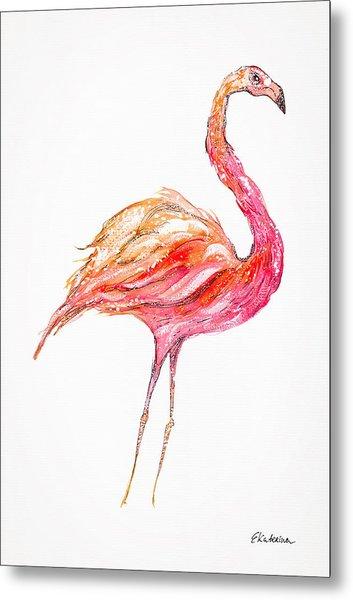 Pink Flamingo Bird Metal Print