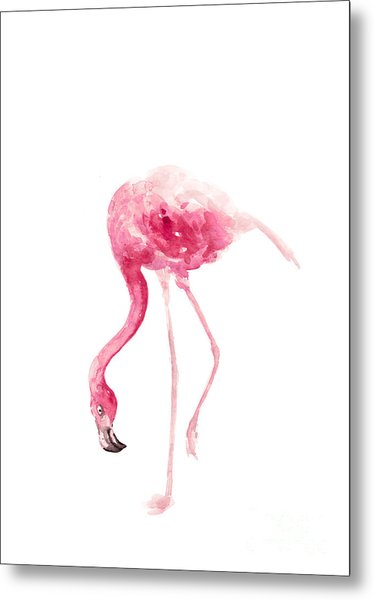 Pink Flamingo Watercolor Art Print Painting Metal Print