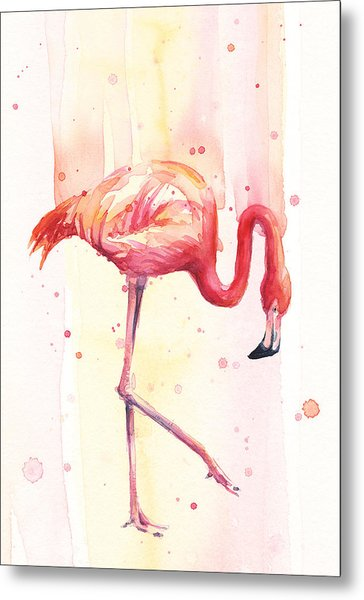 Pink Flamingo Watercolor Rain Metal Print