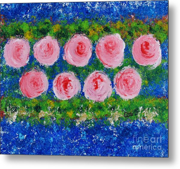 Pink Flowers On Green And Blue Metal Print