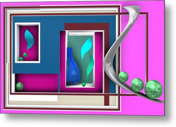 Metal Print featuring the digital art Pink Geometric Scene With Emerald Balls by Alberto RuiZ
