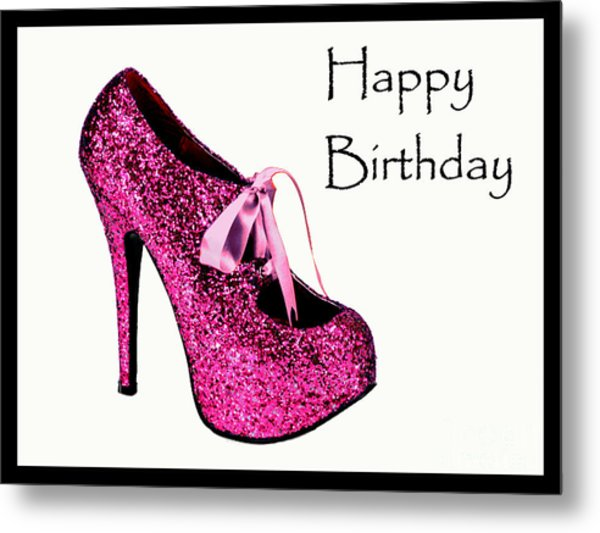 Pink Glitter Birthday Shoe Metal Print by Maralaina Holliday