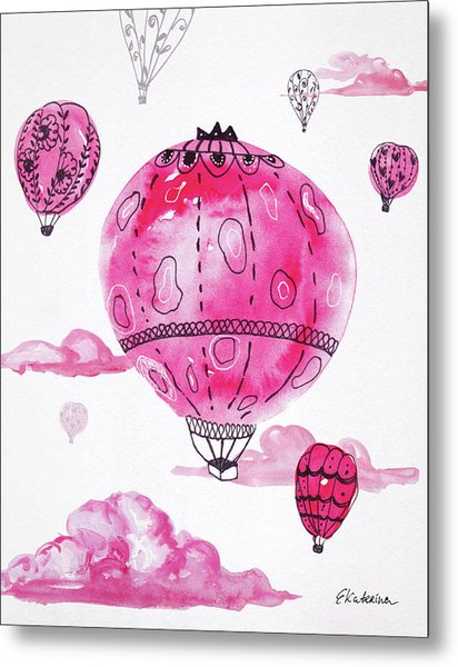 Pink Hot Air Baloons Metal Print