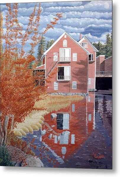 Pink House In Autumn Metal Print