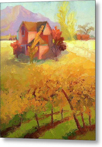 Pink House Yellow Metal Print by Cathy Locke