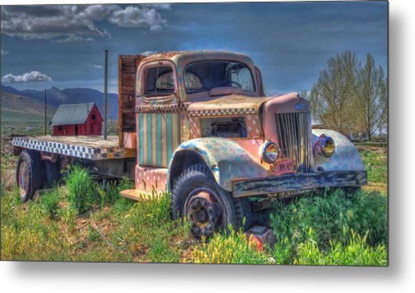 Classic Flatbed Truck In Pink Metal Print