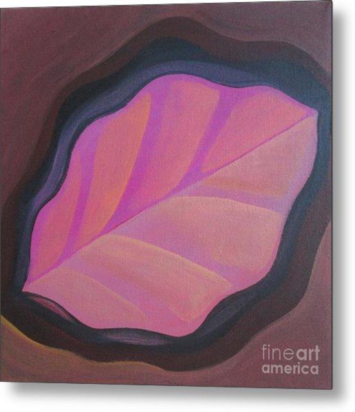 Pink Leaf Metal Print