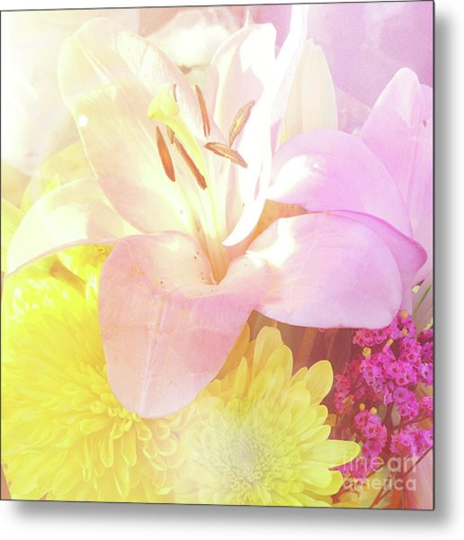 Metal Print featuring the photograph Pink Lilies Yellow Mums by Cindy Garber Iverson