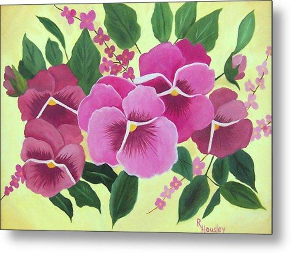 Pink Pansies Sold Metal Print by Ruth  Housley