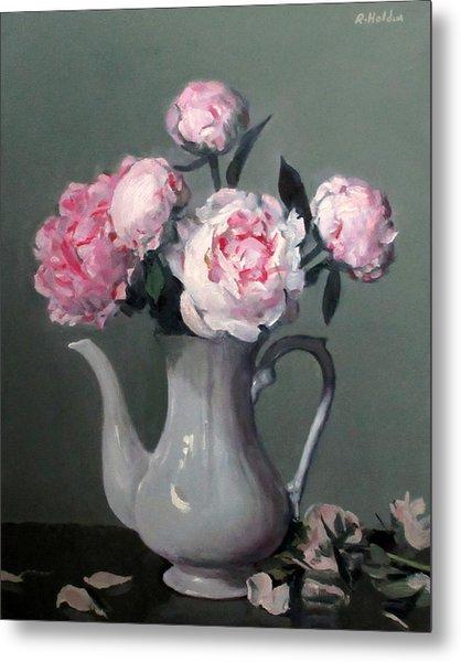 Pink Peonies In White Coffeepot Metal Print