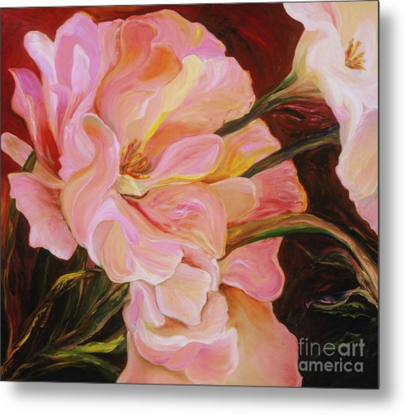 Metal Print featuring the painting Pink Peony by Donna Hall