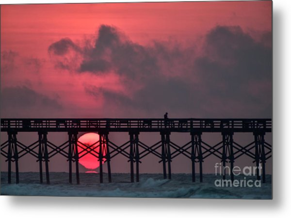 Pink Pier Sunrise Metal Print