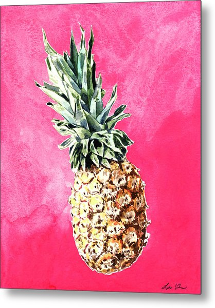 Pink Pineapple Bright Fruit Still Life Healthy Living Yoga Inspiration Tropical Island Kawaii Cute Metal Print