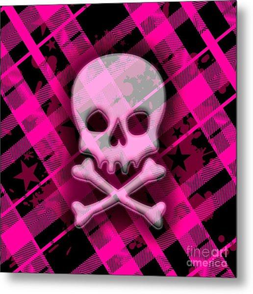Pink Plaid Skull Metal Print