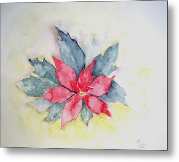 Pink Poinsetta On Blue Foliage Metal Print